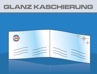 Klapp Visitenkarten Hochglanz Folienkaschiert